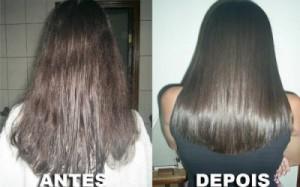 cabelo crespo antes do alisamento e cabelo liso depois do alisamento com selagem termica capilar.