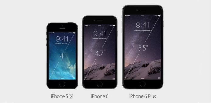 Tamanhos de iphone para comparativo